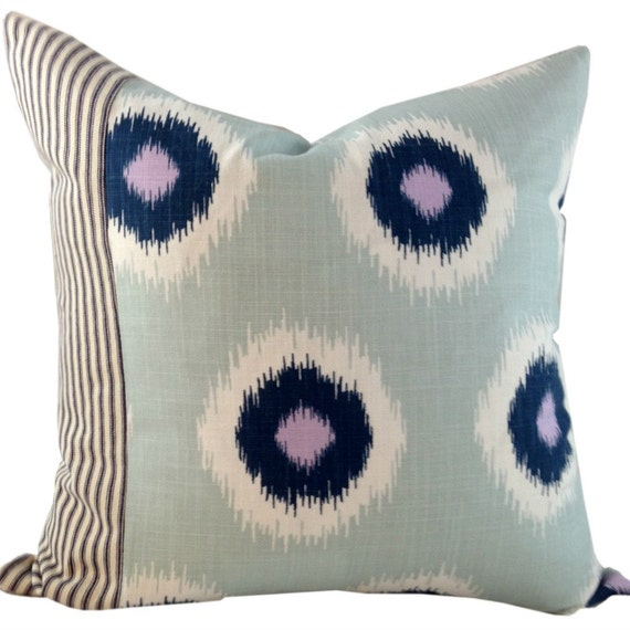 Blue, White and Lavender Ikat Pillow Cover, Ethnic Pillows, Shabby Chic Pillows, Ethnic Pillows, 16x16, 18x18, 20x20