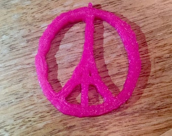 Peace for Paris Pink Eiffel Tower Necklace Pendant 3D Print