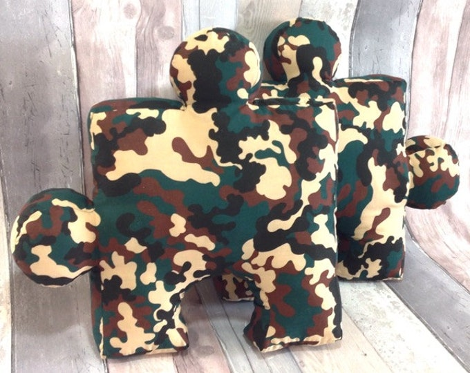 "2 Puzzle Pillow Camouflage, Nursery Cushion, Playroom, Sewn toys, Toys&Games, Birdhday Gifts, Unique Children Gift, Soft Puzzle, 11""x 11"""