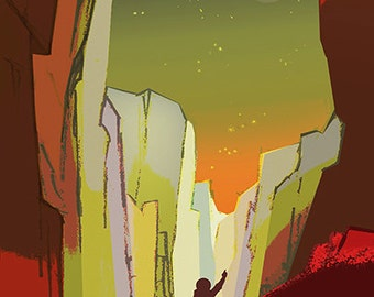 Teach on Mars and its Moons.  NASA Mars explorers wanted series Giclee Reproduction Poster Print.