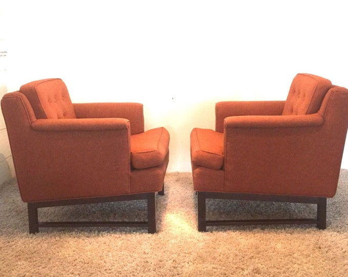 SOLD DUNBAR Mid Century Modern Accent Lounge Club Chairs Orange EAMES