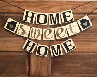 Home Sweet Home Banner, Housewarming Party Banner, 3 Tier Home Sweet Home Banner, Gold and Black Housewarming Banner