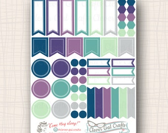 Functional Planner Stickers   Sensible Shapes Sampler   Lizzie Palette   54 Stickers Total   #SS02LIZZIE