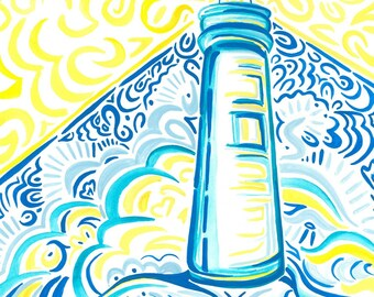 Bright and beachy!  Blue and yellow lighthouse print!  8x10