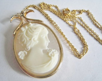 Faux Cameo Long Chain  Necklace