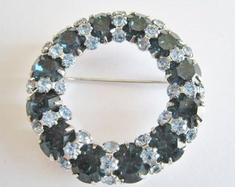 Vintage Dark Blue and Light Blue Rhinestone Pin
