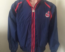 Logo 7 Cleveland Indians rain jacket coat vintage Genuine MLB Merchandise Medium M throwback tribe track jacket Wind Breaker