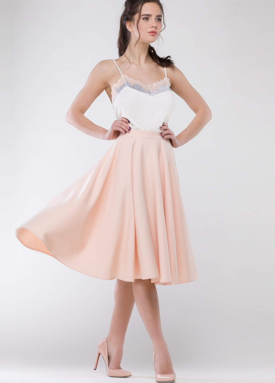 pale pink skirt crepe stretch midi by anastasiabarbouche