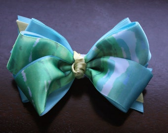 Teal and Green Hair Bow