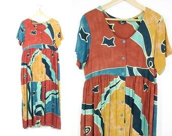 Vintage Long Boho Dress -- 90s Sun Dress -- Cosmic Stars Tie Dye -- Batik Artsy Dress -- Empire Waist Button Dress -- Womens L