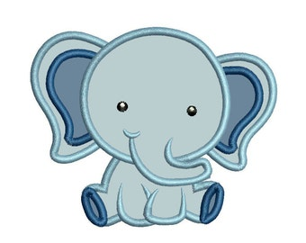 Machine Embroidery Applique Design Mini Cute Baby Girl Elephant