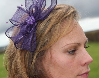 Purple bow fascinator