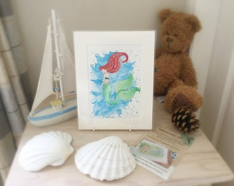 Mermaid painting - Original A5 watercolour painting - The little mermaid