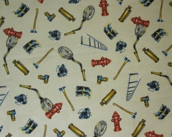 FABRIC 100% cotton fat quarter (18 x 22 inches) firefighter