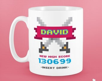 Personalised Gamer Father's Day Mug. Gift for brother, dad or friend. Customise name and high score (Date of Birth). Video Game Minecraft.