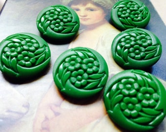 6 old green / glass buttons - buttons Art Nouveau - amazing pattern! Vintage! lot glass buttons