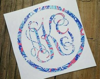 Lilly Pulitzer Monogram Car Decal /  Monogram decal / Monogram Car  Sticker/ Lilly decal