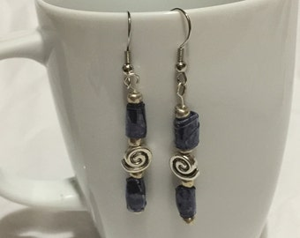 Blue and Silver Swirl Dangle Earrings; Recycled Water Bottle Beads