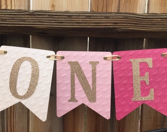 High Chair ONE Banner, Happy Birthday Banner, First Birthday banner, Pink and Gold Birthday, Pink Ombre Birthday