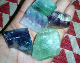 Rainbow Flourite. 2 Piece Lot. Heart Chakra. Brazil.