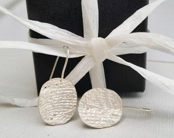 Silver Earrings, textured. Women's drop earrings.