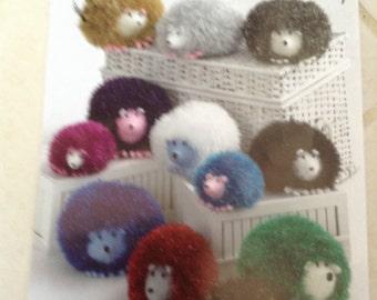 King Cole tinsel chunky hedgehog knitting pattern 9015