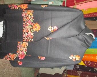 Black Crewel Embroidered Cashmere Shawl/Pashmina Shawl/Woolen Stole/Embroidered Winter Scarf/Indian Shawl/Evening Wraps Shawls/Khadi Shawl