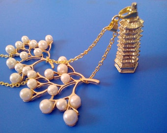 Chinese Feng Shui Wen Chang Nine Level Pagoda Pendant and Pearl Imitation Beads Branches Connector Charms Gold Tone Necklace