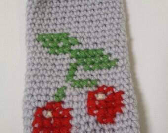Blue crochet cherry phone cosy
