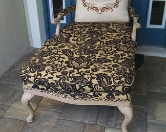 French provincial bergere chair and ottoman