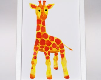 Cute baby giraffe print, Custom colours, Giraffe nursery decor, Paper collage art, Baby giraffe gift, Cute animal art, Childrens wall art