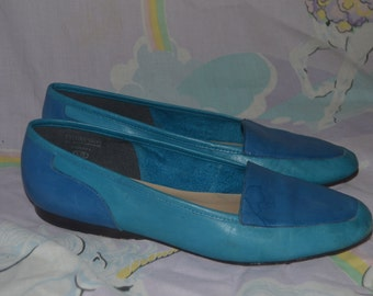 Vintage Two Tone Blue Enzo Angiolini Leather Flats Shoes Made in Brazil 80s 7 1/2 N
