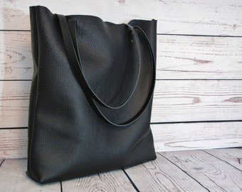 Black leather tote, real leather, shopper, leather bag, tote bag