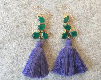Green Agate Leaf Purple Tassel Earrings