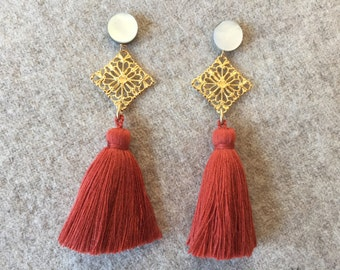 Mother of Pearl Filigree Rust Tassel Earrings