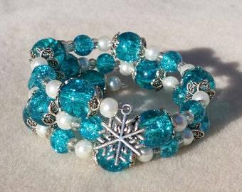 SALE Let It Snow Memory Wire  Bracelet