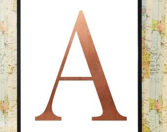 Copper A Alphabet print poster home art decoration
