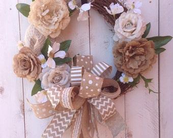 Burlap Wreath, Grapevine Wreath, Rustic Wreath, Wedding Wreath