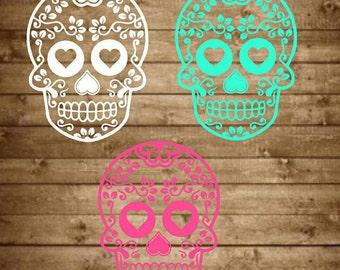 Sugar skull decal, sugar skull yeti decal, day of the dead, skull decal, yeti decal, skull yeti decal, car decal, tumbler decal