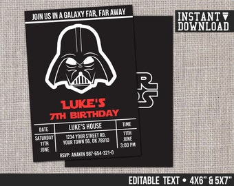 Star Wars Invitation Darth Vader Customizable Printable Birthday Party Invite - EDITABLE TEXT - Instant Download