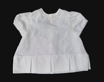 60's White Embroidered Dress Made in France  3-6 Months