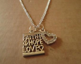 Faith, Hope, Love Charm Necklace