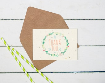 Seeded Thank you card - Wild Flower Seeded Card! Re-grow into mini meadow! Thank you Card, Garden Card, Plantable Card