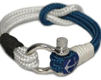 Black and Blue Rope Bracelet , Nautical Rope Bracelet , Handmade Shackle Bracelet , Bracelet Dublin , Surfer Bracelet , Free Shipping