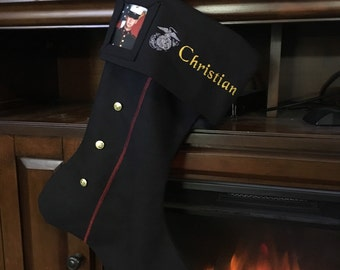 USMC Dress Blues Christmas Stocking