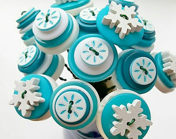elsa inspired turquoise and white button bouquet