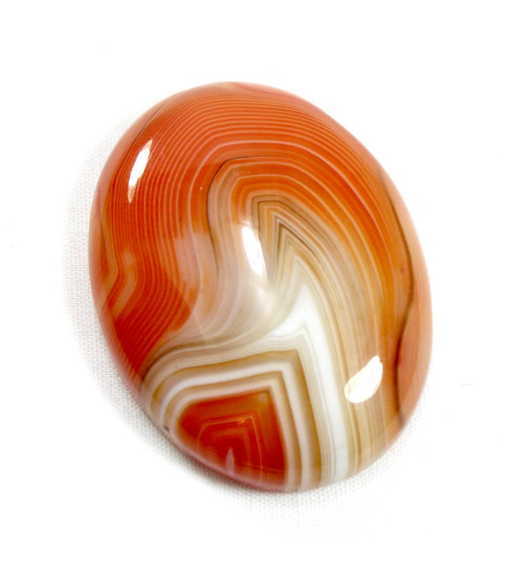Orange And White Marble Slab : Orange agate cabochon reddish brown and white striped stone