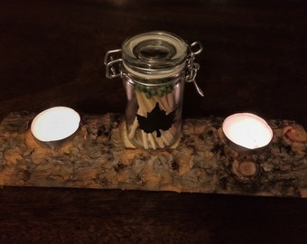 Half Log Tea Light Holder