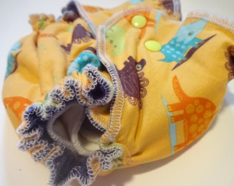 Dino Toss FITTED CLOTH DIAPER -one size- by HuggableEarth