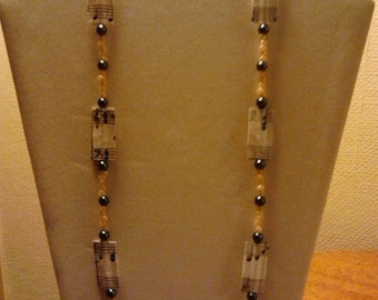 Upcycled Sheet Music Flat Paper Bead Necklace
